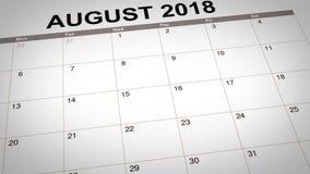 Terug naar School duidelijk op kalender 2018 royalty-vrije illustratie
