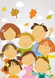 Terug naar school - gelukkige kinderen vector illustratie