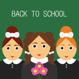 Terug naar School Gelukkige schoolmeisjes affiche Stock Foto