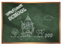 Terug naar School Groene schoolraad met tekeningen Royalty-vrije Stock Afbeeldingen