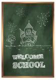 Terug naar School Groene schoolraad met tekeningen Royalty-vrije Stock Foto