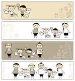 Terug naar school, kinderen met ouders, banners Stock Fotografie