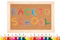 Terug naar school - kleurenpotloden royalty-vrije stock afbeelding