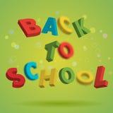 Terug naar School kleurrijke teksten op een heldergroene achtergrond Speels 3D Brievenontwerp Het concept van het onderwijs Vlieg vector illustratie