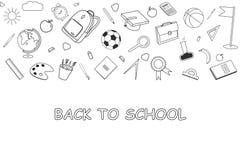 Terug naar School lineart achtergrond Diverse levering van het schoolmateriaal Stock Foto's