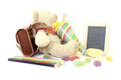 Terug naar School met Teddy stock afbeelding