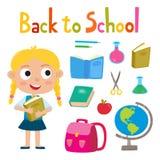 Terug naar school met vrij modieuze meisjestribune wordt geplaatst met boekscho die Royalty-vrije Stock Afbeeldingen