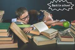 Terug naar School Motiveer uw kind om boring onderwerp te bestuderen stock afbeeldingen