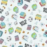 Terug naar school naadloos patroon die de voorwerpen van het schoolleven kenmerken Stock Foto's