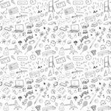 Terug naar School naadloos patroon met Hand-Drawn Krabbels van het schetselement Vectorillustratie als achtergrond Royalty-vrije Stock Afbeelding