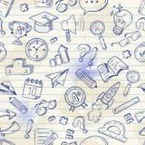 Terug naar school naadloos patroon op een oefenboek Stock Afbeelding