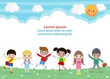Terug naar school, onderwijsconcept, schooljonge geitjes, gaan de gelukkige kinderen naar school, Malplaatje voor reclamefolder,  royalty-vrije illustratie