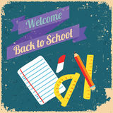 Terug naar school, ontwerpaffiche Retro stijl vector illustratie
