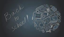 Terug naar school op bureau met schoollevering Royalty-vrije Stock Foto