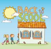 Terug naar school, pictogrammen, vectorillustratie Stock Fotografie