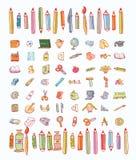 Terug naar school, pictogrammen, vectorillustratie Stock Foto's