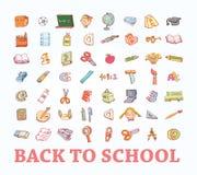 Terug naar school, pictogrammen, vectorillustratie Stock Foto