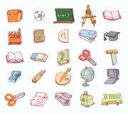 Terug naar school, pictogrammen, vectorillustratie Stock Afbeeldingen