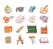 Terug naar school, pictogrammen, vectorillustratie Stock Afbeelding