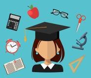 Terug naar School Reeks illustraties Vlak eenvoudig ontwerp stock illustratie