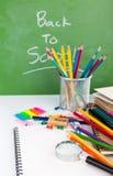 Terug naar school: Schoolkantoorbehoeften Stock Afbeeldingen