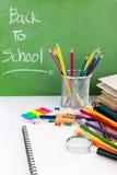 Terug naar school: Schoolkantoorbehoeften Royalty-vrije Stock Afbeelding