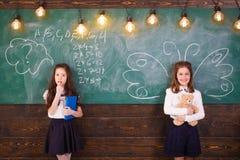 Terug naar School Schoolmeisje Schoollessen Weinig eerste nivelleermachines Gelukkig de lezingsboek van het jong geitjemeisje r stock foto's