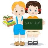 Terug naar school van twee glimlachende kinderen met bord royalty-vrije illustratie