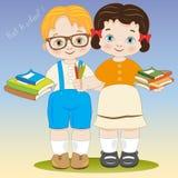 Terug naar school van twee glimlachende kinderen met bord vector illustratie