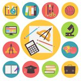 Terug naar school, vector geplaatste pictogrammen, vlak ontwerp Royalty-vrije Stock Foto's