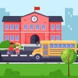 Terug naar school, vector vlakke illustratie De schoolbouw, gele bus en kinderen Leerlingen met rugzakken en boeken vector illustratie