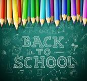 Terug naar school vectorachtergrond met schoolbord en potloden Stock Foto