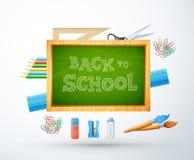 Terug naar school vectorillustratie met schoolbord, potlood, rul Stock Foto