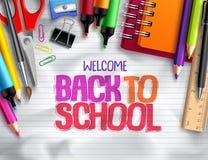 Terug naar school vectorontwerp als achtergrond met schoolelementen, kleurrijke onderwijslevering Stock Foto's