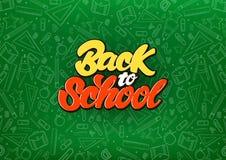 Terug naar school vier in het van letters voorzien stijl op bord Van de achtergrond schoolillustratie patroon Duif als symbool va vector illustratie