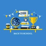 Terug naar school vlakke illustratie met bureau en schoolsup Stock Foto's