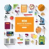 Terug naar school vlakke vectorachtergrond Royalty-vrije Stock Foto's