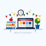 Terug naar school vlakke vectorillustratie met bureau en schoolsup Stock Afbeeldingen