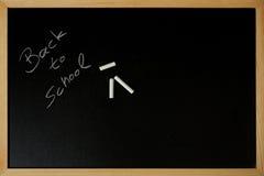 Terug naar school wordt geschreven op een bord Royalty-vrije Stock Foto