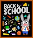Terug naar schoolachtergrond met konijntje Stock Fotografie