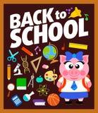 Terug naar schoolachtergrond met piggy Royalty-vrije Stock Afbeeldingen