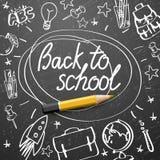 Terug naar schoolbanner, krabbel op bordachtergrond, vectorillustratie royalty-vrije stock foto