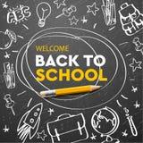 Terug naar schoolbanner, krabbel op bordachtergrond, vectorillustratie stock afbeeldingen