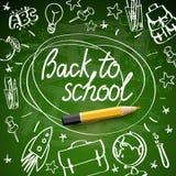 Terug naar schoolbanner, krabbel op groene bordachtergrond, vectorillustratie royalty-vrije stock afbeelding