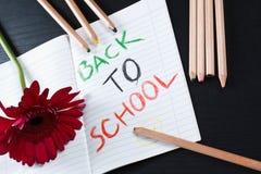 Terug naar schoolbericht met bloem en potloden Royalty-vrije Stock Afbeeldingen