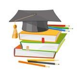 Terug naar schoolboeken en de vectorillustratie van de graduatiehoed Stock Afbeeldingen