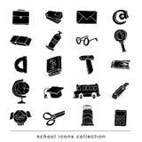 Terug naar Schoolelementen, Vectorillustratie zwart Royalty-vrije Stock Afbeeldingen