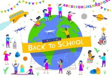 Terug naar schoolillustratie Groep actieve kinderen rond een reuzebol Kinderenkarakters die verschillende activiteiten doen stock illustratie