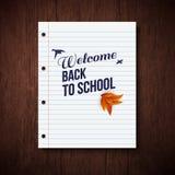 Terug naar schoolkaart Houten achtergrond, typografieontwerp Vecto Royalty-vrije Stock Afbeeldingen