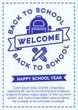 Terug naar schoolkaart met cyaankleurenetiket die uit school B bestaan Stock Foto
